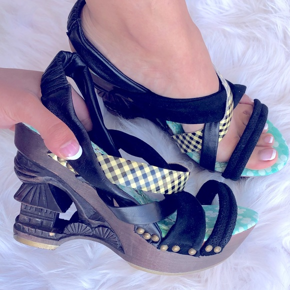 Irregular Choice Dominara Black Gingham Wood Heel